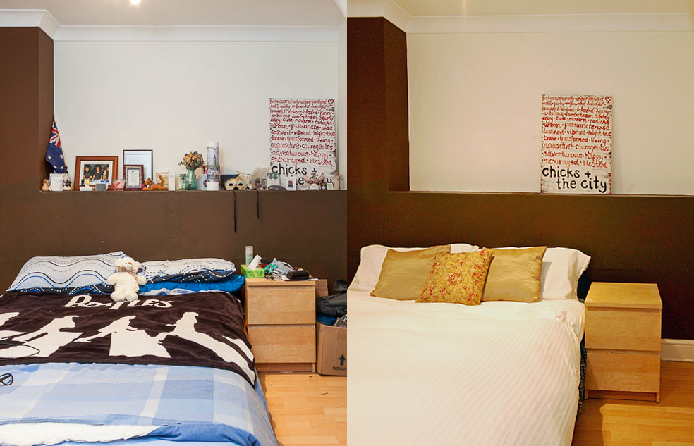 Before and after: Dressing the bed and getting rid of personal trinkets transformed this room for viewings
